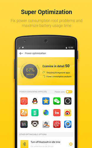 Les captures d'écran du programme Yellow battery pour le portable ou la tablette Android.
