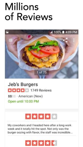Yelp: Food, shopping, services app for Android, download programs for phones and tablets for free.