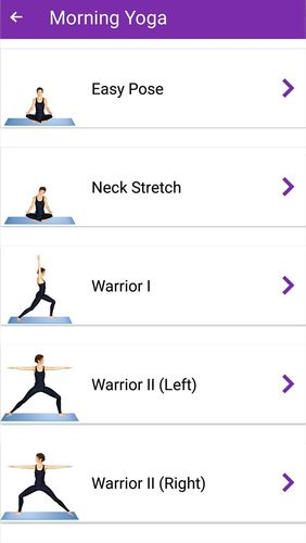 Les captures d'écran du programme Yoga workout - Daily yoga pour le portable ou la tablette Android.