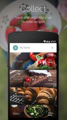Capturas de pantalla del programa Yummly: Recipes & Shopping list para teléfono o tableta Android.