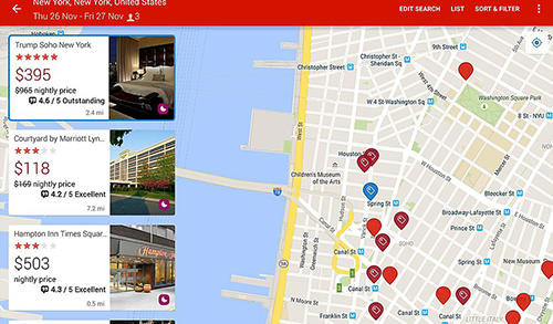 Screenshots of Hotels.com: Hotel reservation program for Android phone or tablet.
