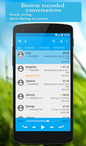 Les captures d'écran du programme Call recorder pour le portable ou la tablette Android.