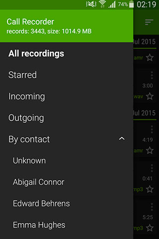 Capturas de tela do programa Call Recorder em celular ou tablete Android.