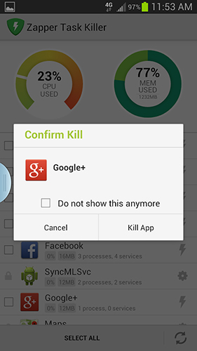Zapper task killer app for Android, download programs for phones and tablets for free.