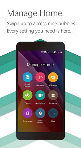 Screenshots of Zen UI launcher program for Android phone or tablet.