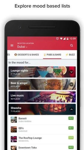 Capturas de tela do programa Zomato - Restaurant finder em celular ou tablete Android.
