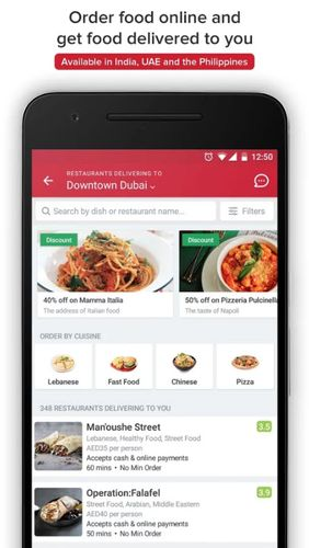Les captures d'écran du programme Zomato - Restaurant finder pour le portable ou la tablette Android.