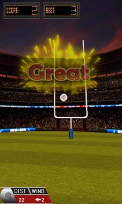 Screenshots of the 3D Flick Field Goal for Android tablet, phone.