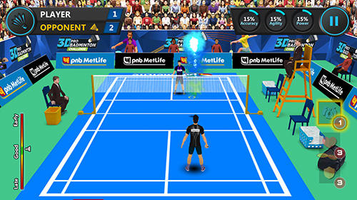 Screenshots do 3D pro badminton challenge - Perigoso para tablet e celular Android.