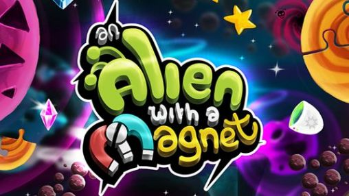 An alien with a magnet poster
