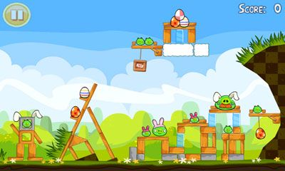 Screenshots do Angry Birds. Seasons: Easter Eggs - Perigoso para tablet e celular Android.