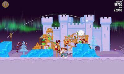 Screenshots do Angry Birds Seasons Winter Wonderham! - Perigoso para tablet e celular Android.