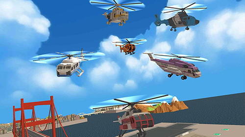 Download Blocky helicopter city heroes Android free game.