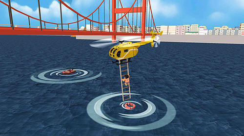Screenshots von Blocky helicopter city heroes für Android-Tablet, Smartphone.
