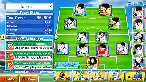 Capturas de pantalla de Captain Tsubasa: Dream team para tabletas y teléfonos Android.