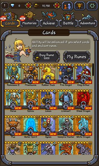 Juega a Card of legends: Random defense para Android. Descarga gratuita del juego Carta de leyendas: Defensa aleatoria.