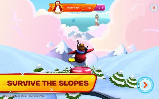 Android タブレット、携帯電話用Club penguin: Sled racerのスクリーンショット。
