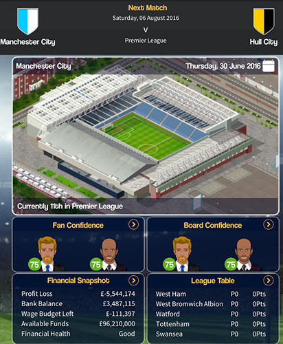 Screenshots von Club soccer director 2018: Football club manager für Android-Tablet, Smartphone.