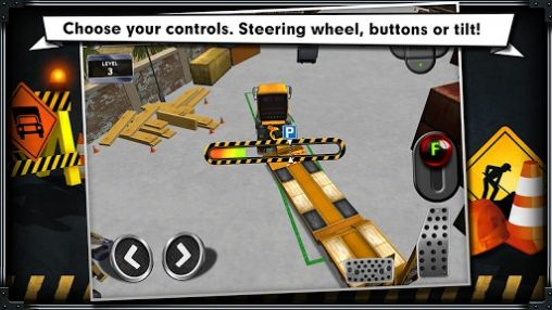 Jouer à Construction: Trucker parking simulator pour Android. Téléchargement gratuit de La construction: le simulateur du parking des camions.