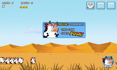 Screenshots of the Cowaboom for Android tablet, phone.