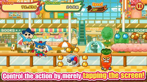 Screenshots von Crayon Shin-chan: Storm called! Flaming Kasukabe runner!! für Android-Tablet, Smartphone.