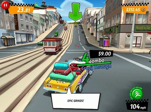 Screenshots von Crazy taxi: City rush für Android-Tablet, Smartphone.