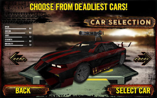 Kostenloses Android-Game Todesrennen: Strandrennen. Vollversion der Android-apk-App Hirschjäger: Die Death race: Beach racing cars für Tablets und Telefone.