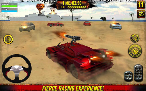 Juega a Death race: Beach racing cars para Android. Descarga gratuita del juego Carrera mortal: Coches de carreras en la playa.
