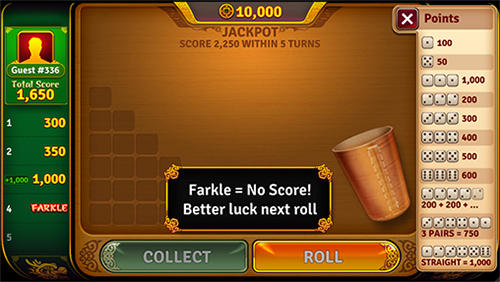 Screenshots von Dice legends: Farkle game für Android-Tablet, Smartphone.