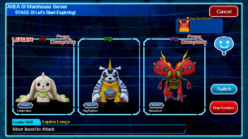 Screenshots of the Digimon links for Android tablet, phone.