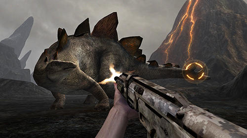 Screenshots do Dino VR shooter: Dinosaur hunter jurassic island - Perigoso para tablet e celular Android.
