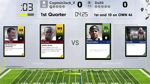 Kostenloses Android-Game Dynastie: Ein Football-Kartenspiel. Vollversion der Android-apk-App Hirschjäger: Die Dynasty: A football card game für Tablets und Telefone.