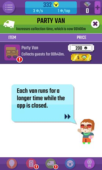 Screenshots of the Epic party clicker for Android tablet, phone.