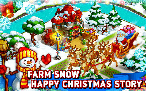 Farm snow: Happy Christmas story with toys and Santa poster