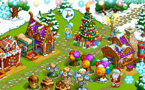 Farm snow: Happy Christmas story with toys and Santa screenshot 1