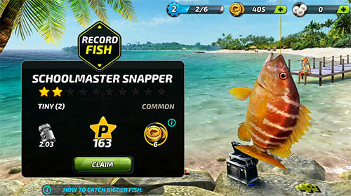 Android タブレット、携帯電話用Fishing clash: Catching fish game. Hunting fish 3Dのスクリーンショット。