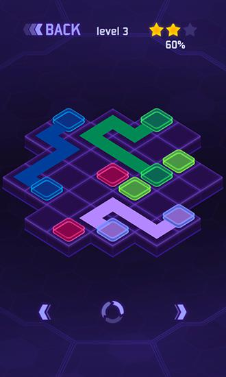 Kostenloses Android-Game Flow Dots: Cyberlinien 3D. Vollversion der Android-apk-App Hirschjäger: Die Flow dots: Cyber lines 3D für Tablets und Telefone.