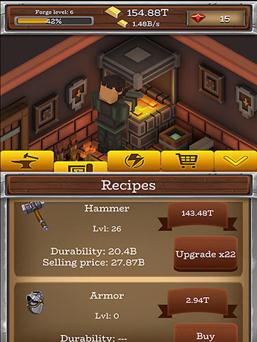 Screenshots von Forgecraft: Idle tycoon für Android-Tablet, Smartphone.