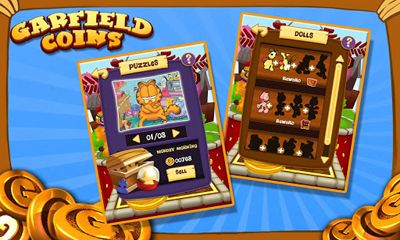 Screenshots of the Garfield Coins for Android tablet, phone.