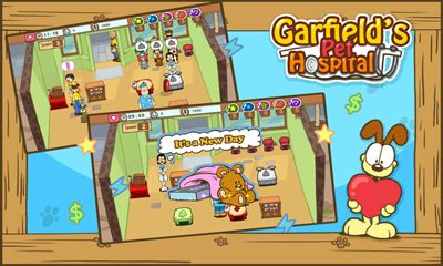 Screenshots of the Garfield's pet hospital for Android tablet, phone.
