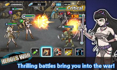 Screenshots of the Heroes War for Android tablet, phone.