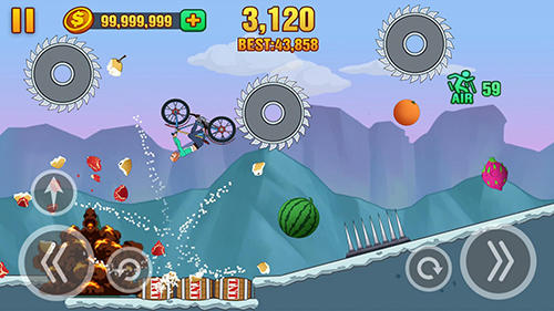 Kostenloses Android-Game Bergabstieg: Zertrümmere Früchte. Vollversion der Android-apk-App Hirschjäger: Die Hill dismount: Smash the fruits für Tablets und Telefone.