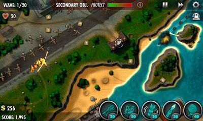 Screenshots of the iBomber Defense Pacific for Android tablet, phone.