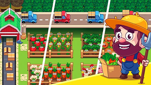 Jouer à Idle farming village: Happy hay farm village pour Android. Téléchargement gratuit de Village simple de ferme: Récolte heureuse de village.