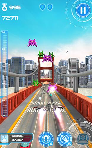 Juega a Jet run: City defender para Android. Descarga gratuita del juego Vuelo reactivo: Defensor de la ciudad.