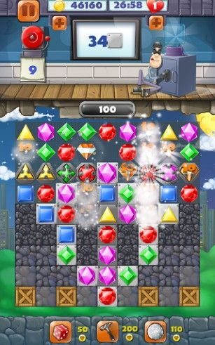 Jewel blast: Thief quest. Diamond blast: Game three in a row скриншот 2