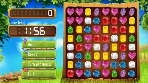 Kostenloses Android-Game Jewels Match 3. Vollversion der Android-apk-App Hirschjäger: Die Jewels match 3 für Tablets und Telefone.