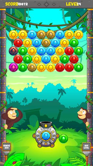 Kostenloses Android-Game Dschungelaffe: Bubble Shooter. Vollversion der Android-apk-App Hirschjäger: Die Jungle monkey bubble shooter für Tablets und Telefone.