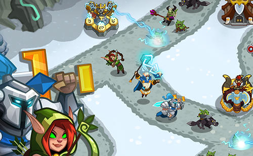 Kostenloses Android-Game Legenden TD: Niemand kommt durch. Vollversion der Android-apk-App Hirschjäger: Die Legends TD: None shall pass! für Tablets und Telefone.