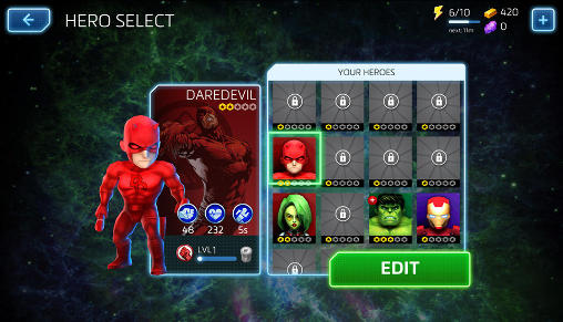 Screenshots von Marvel: Mighty heroes für Android-Tablet, Smartphone.